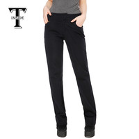 T-Inside Brand Women's Casual Straight Pants with Pocket Solid Colors Black High Quality for Daily and Work