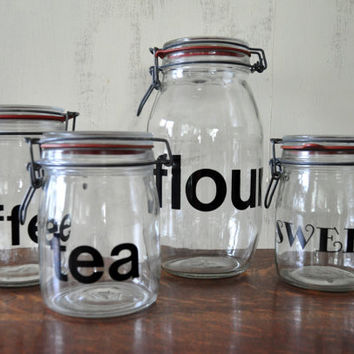 Vintage Glass Storage Jars with Black Lettering, Swing Top Jars, Kitchen Canisters, Coffee Flour Tea Candy Jars, Mid Century Modern