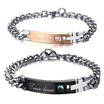FANSING Jewelry Valentinelsquos Day Gift for Lover Stainless Steel Couple Bracelets Matching Set