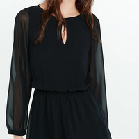Black Long Sleeve Keyhole Romper from EXPRESS