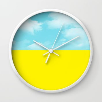 yellow and sky Wall Clock by ARTbyJWP