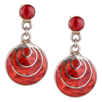 Sterling Silver and Red Jasper Drop Earrings