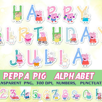 Peppa Pig digital Alphabet, clipart, elements, for kids birthday party, invitations, cards, scrapbooking, printable decorations.PNG,300 dpi.