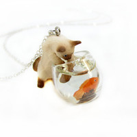 Cat In The Fish Bowl Necklace by CuteAbility on Etsy
