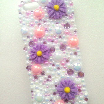 iPhone 5/5s iPhone 5c Lilac Daisy Decoden Phone Case. Cute, Summer, Girl. Can Be Made For ANY Phone