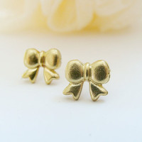 Tiny Bow Earrings-metalwork brass silver