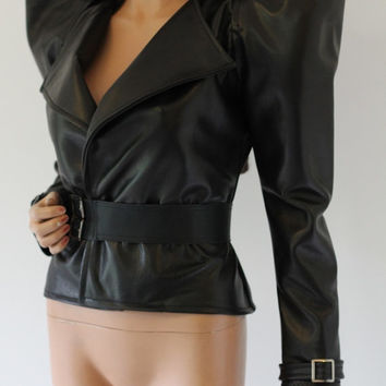 Leather Jacket Belt Fashion Jacket. Sexy, Edgy and Extremely Chrisst Unique Fashion SPECIAL ETSY PRICE