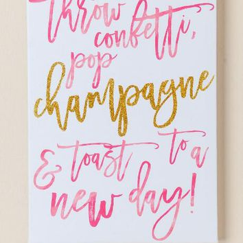 Pop champagne glitter canvas wall decor