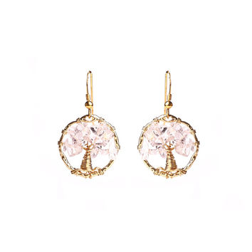 Love Quartz Tree Of Life Earrings