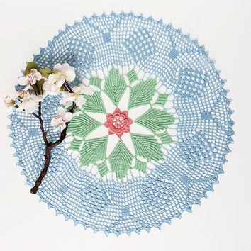 Crochet doily, tabletop decor, lace centerpiece, frame wall decor, sky blue, pale green, rose, heirloom quality, cottage chic, shabby chic