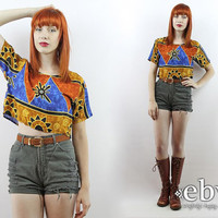 Vintage 90s Ethnic Print Crop Top S M L Cropped Top Midriff Top Cropped Shirt Cropped Blouse Summer Top Festival Crop Top Hippie Crop Top