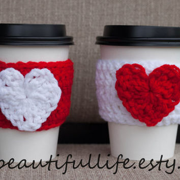 Valentine Day Adjustable Coffee Sleeve - Hearts