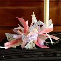 Adorable shabby chic travel bow/accessory for your suitecase or luggage