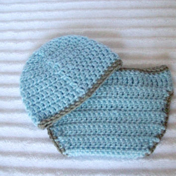 Baby Boy Diaper Cover Set in Blue and Grey, Crochet Diaper Cover Set, Diaper Cover and Hat Set, Newborn Diaper Cover
