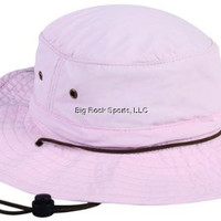 Outdoor Cap Ladies Pink Supplex Bucket Hat w/ Leather Chin Cord