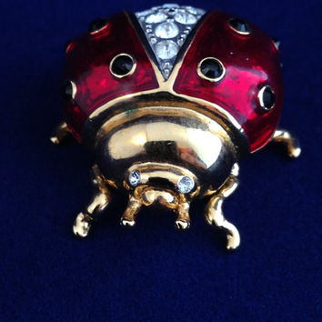 Two Ladybug Figurines Red Enamel with Swarovski Clear and Black Crystals