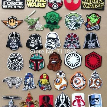 Star Wars Force Episode 1 2 3 4 5    iron on patches assorted Movie TV logo cloth badge  biker vest applique coat Embroidered cinephile patch AT_72_6