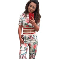GUCCI Fashion summer new hot sales animal snake flower print floral sports and leisure short sleeve top and pants trousers women two piece suit