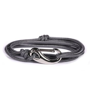 Gray + Silver Tactical Cord Men's Bracelet