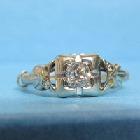 Vintage Ring: 14k White Gold and Diamond, Engagement Ring