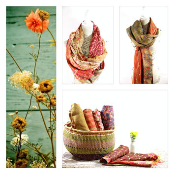 Silk Kantha Scarf - Stole Earth Collection