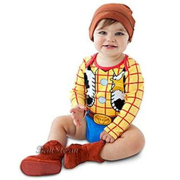 Licensed cool Toy Story Cowboy Woody Costume Bodysuit & Hat for Baby Disney Store 2 Years NEW