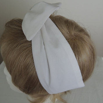 White Wire Headband, Twist Scarf, Bandana, White Head Band, Twist Head Band,  Hat Band, Head Wrap, Dolly Bow, Hair Tie,  Hair Band, Retro