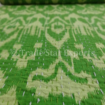 Ikat Printed Kantha Quilt, Parrot Green Color Theme, Indian Cotton Bedspread, Queen Size, Reversible Kantha Bed Cover / Bed Sheet, India