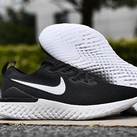 HCXX 19Aug 548 Nike Epic React Flyknit 2 Mesh Sneaker Breathable Casual Running Shoes Black White