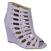 Yoki Lilac PU High Wedge Womens Lilac Wedge | Shiekh Shoes