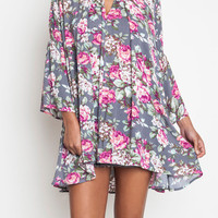 Umgee Gray Floral Dress Trapeze Swing Cut Boho Chic Bell Sleeve Tunic