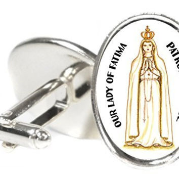 Our Lady of Fatima Patron of Peace  Oval Silver Pair of Cuff Links