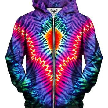 Pointed V Rainbow Tie-Dye Zip-Up Hoodie