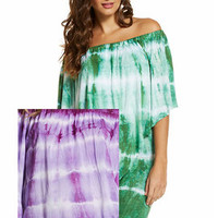 Elan Off the Shoulder Dress or Tunic with Draped Overlay Ripple Dye PURPLE - HaileyMason, LLC Store
