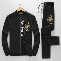 GUCCI 2018 autumn and winter new trend men's casual sports suit two-piece black