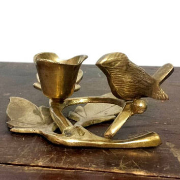 Brass Bird Figurine Candle Holder Vintage Candlestick Animal Cottage Chic Sparrow Home Decor