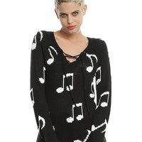 Black & White Music Note Lace-Up Girls Sweater