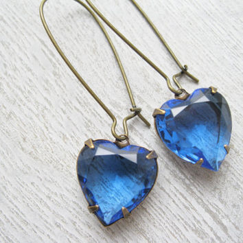 Blue Heart Earrings, Long Dangles, Sapphire Drop Earrings Rhinestone Summer Jewelry Wedding Prom Vintage Style Valentines Day Antique Brass