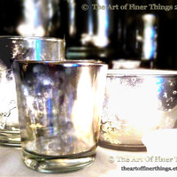 BULK larger style Silver Mirror Glass Votives- Mirrored Mercury Glass Votive Holders- Candle Holder Votive -