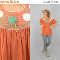 SALE 70's Embroidered Mexican Blouse