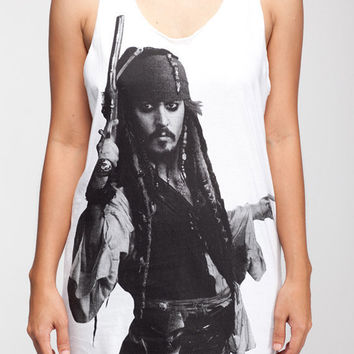 Johnny Depp Shirt Pirates of the Caribbean Shirt Women Tank Top White Shirt Tunic Top Vest Sleeveless Women T-Shirt Size S M