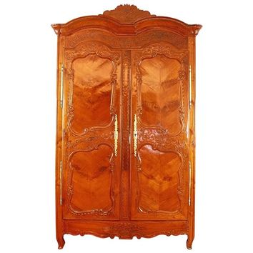 Bridal Cherry Wood Armoire, Brittany 'Rennes', 1758