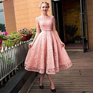 New Modern Pink Lace Cocktail Dresses Tea-Length Evening Party Dresses Cap Sleeve Prom Dresses A Line Social Occasions Dresses