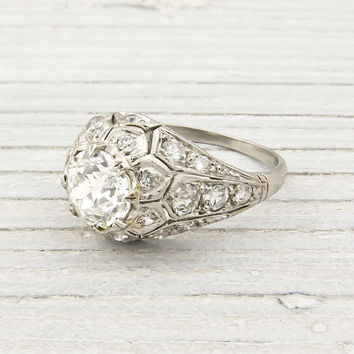 Antique 1.04 Carat Diamond Engagement Ring
