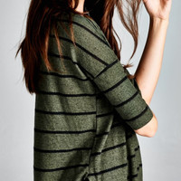 Dressed in Stripes Weekender Top- Olive