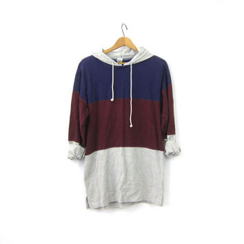 Striped Rugby TShirt Hooded Tee Shirt Preppy Slouchy Pullover Shirt with Hood Gray Burgandy Purple Vintage Womens Size  Medium