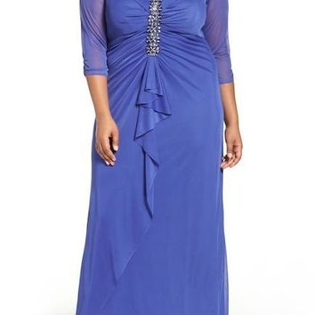 Alex Evenings Front Ruched Embellished Plus Size Dress 432858