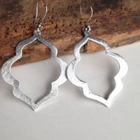 Silver Plated Earrings, Long Earrings, Dangly Earrings, Oriental Shape, Elegant, Sophisticated
