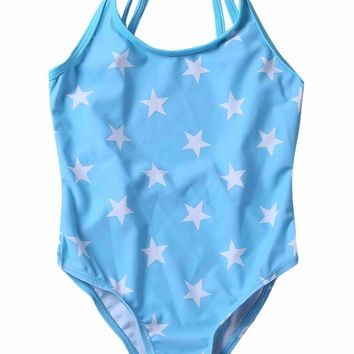 Duplicate Straps Stars Print Blue Monokini for Kid Girls