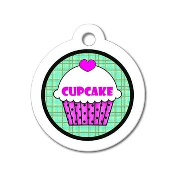 Purple Cupcake with Teal Pattern - Cute Pet Tag